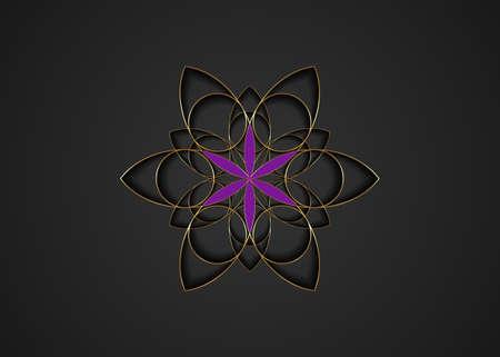 Flower of Life symbol Sacred Geometry. Gold luxury icon round geometric mystic purple mandala of alchemy esoteric Seed of life. Vector divine meditative amulet isolated on black background