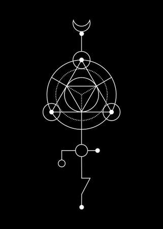 Sacred geometry abstract mystic signs. Merkaba thin line geometric triangle shape, esoteric or spiritual symbols. isolated on black background. White linear shapes. For you design: tattoo, print, card