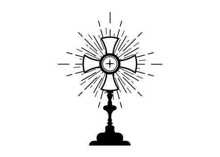 Monstrance. Ostensorium used in Roman Catholic, Old Catholic and Anglican ceremony traditions. Benediction of the Blessed Sacrament is used to displayed to Eucharistic host. Vector isolated on white 版權商用圖片 - 167698018