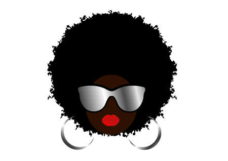 Kinky curly afro hair, portrait African Woman wear sunglasses, dark skin female face, ethnic traditional coiffure, sexy red lips, hair style concept salon, Avatar vector isolated on white background 向量圖像