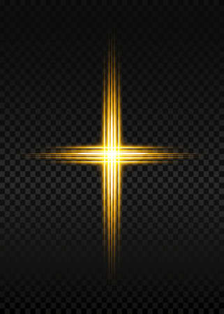 cross of light, shiny Cross with golden frame symbol of christianity. Symbol of hope and faith. Golden light Vector illustration isolated on transparent background 向量圖像