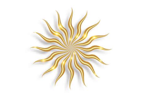 Gold sun luxury icon. Abstract golden sunburst isolated on white background. Vintage sacred shiny sun burst design element. Geometric shape, light rays, summer. Vector illustration