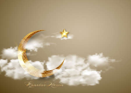 Ramadan Kareem 2021 banner, sky with white clouds background vector design illustration. Gold crescent moon and shiny golden star, Muslim arabic religious symbols 向量圖像