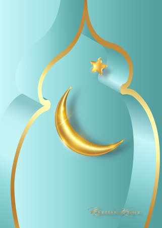 Ramadan Kareem 2021, gold crescent moon and golden star vector isolated on blue background. Islamic symbol, Concept Muslim vertical banner, card, flyer, party invitation, sale shop, holiday template 向量圖像