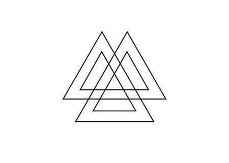 Interwoven triangles, valknut, sacred geometry. Flat icon. Logo, tattoo, occult amulet. Esoteric symbol vector illustration isolated on white background