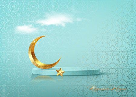 Ramadan Kareem 3D vector of classic teal Muslim Islamic festival theme product display background with gold crescent moon, golden star, Islamic Arabic decorations. Podium studio, religious symbols