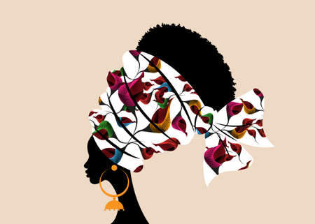 portrait beautiful African woman in traditional turban handmade tribal motif wedding flowers, Kente head wrap African with ethnic earrings, black women Afro curly hair, vector silhouette isolated 向量圖像