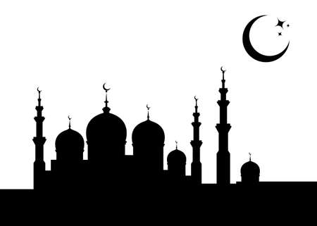 Ramadan Kareem Banner card template. Islamic Mosque silhouette graphic design, Crescent moon sky, Muslim symbols. Hari raya festival, Eid al-Adha, Eid al-Fitr. Vector isolated on white background 版權商用圖片 - 167937888