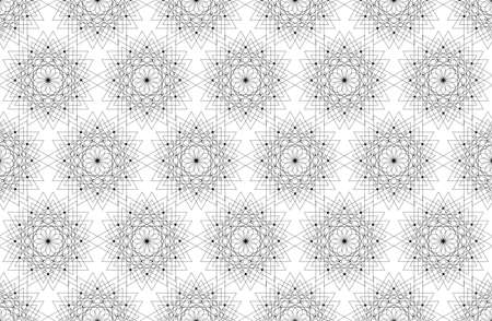 Seamless Sacred Geometry Seed of life pattern background. Logo flower of life texture Geometric mystic mandala of alchemy esoteric Flowers line art. Vector black and white background 向量圖像