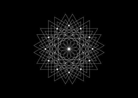 Sacred Geometry Seed of life icon, Geometric mystic mandala of alchemy esoteric Flower. White line art. Vector black tattoo divine meditative amulet isolated on black background