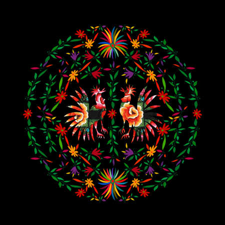 Round Ethnic Mexican embroidery background, colorful roosters jungle animals handmade. Otomi culture naive print folk decorations. latin, Spanish, mediterranean style. Floral elements textile on black 版權商用圖片 - 168023748
