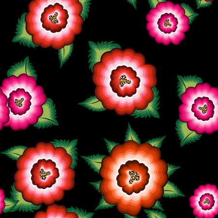Seamless Mexican floral embroidery pattern, ethnic colorful native flowers folk fashion design. Embroidered Traditional Textile Style of Mexico, vector isolated on black background