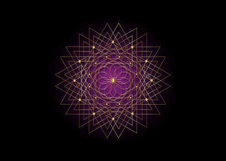 Gold Sacred Geometry Seed of life. Logo icon, Geometric mystic mandala of alchemy esoteric purple Flower. White line art. Vector black tattoo divine meditative amulet isolated on black background 向量圖像