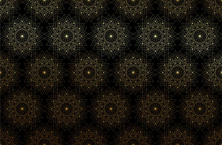 Seamless Sacred Geometry Seed of life gold pattern background. Logo flower of life texture Geometric mystic mandala of alchemy esoteric luxury Flowers golden line art. Vector on black background