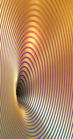 Banner Wormhole Optical Illusion, Geometric fashion colorful and golden luxury Abstract Hypnotic Worm Hole Tunnel, Abstract Twisted Vector Illusion 3D shiny Gold Optical Art background