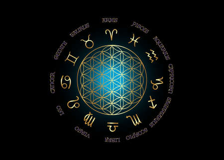 wheel of the zodiac set gold signs. Golden Flower of Life, Yantra Mandala in the lotus flower, Sacred Geometry. Vector illustration isolated on blue and black background 版權商用圖片 - 168104311