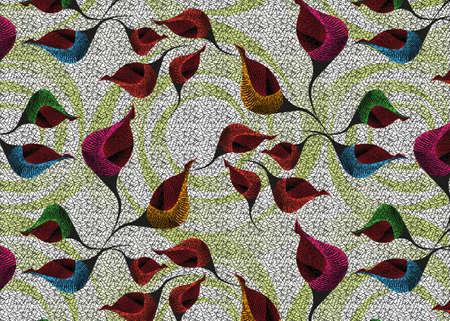 African Wax Print fabric, Ethnic handmade ornament design, tribal pattern motifs floral elements. Vector texture, afro colorful textile Ankara fashion style. Pareo wrap dress wedding flowers 版權商用圖片 - 168104314