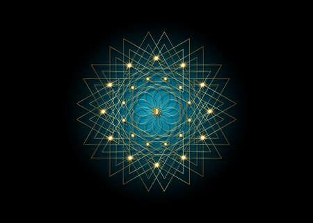 Gold Sacred Geometry Seed of life. icon, Geometric mystic mandala of alchemy esoteric blue Flower. White line art. Vector black tattoo divine meditative amulet isolated on black background