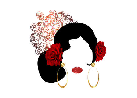 Portrait of flamenco woman beautiful girl, Spanish style. Latin Lady wearing gold folk accessories peineta, golden comb, red rose flower and earrings, Vector illustration isolated on white background