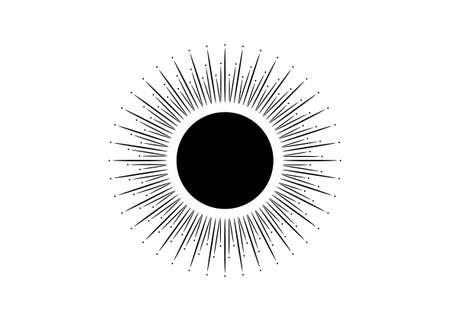 Sun icon concept of sunburst sign, radial rays, filled black symbol, concept of solar eclipse, vector isolated on white background Иллюстрация