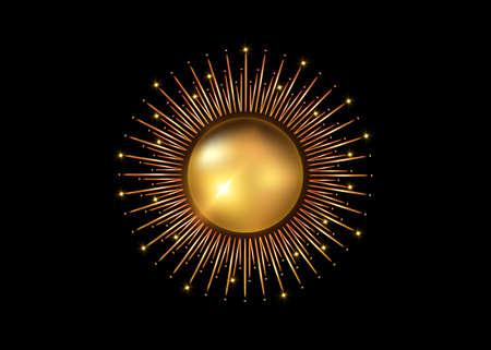 Sun gold icon concept of sunburst sign, golden radial rays, filled luxury shiny orange symbol, concept of solar eclipse, gold frame border vector isolated on black background Иллюстрация