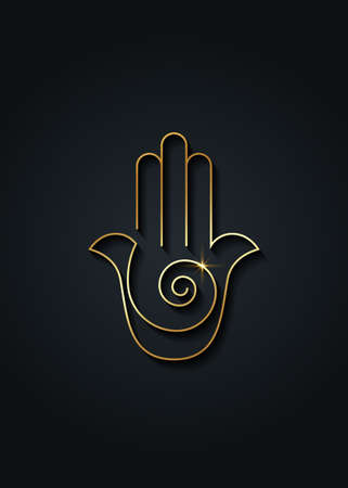 Hamsa hand Spiral icon. Gold Line Art vector Jewish religious sign. Golden luxury Hand of Fatima minimalist design isolated on black background