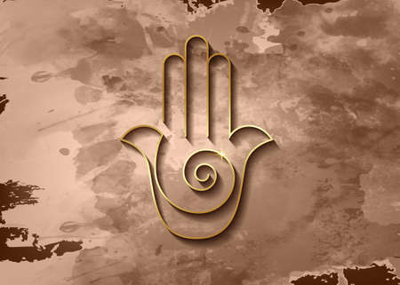 Hamsa hand Spiral icon. Gold Line Art vector Jewish religious sign. Golden luxury Hand of Fatima minimalist design isolated on old vintage paper brown parchment background