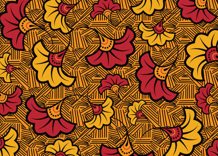 African Wax Print fabric, Ethnic handmade ornament design, tribal pattern motifs floral elements. Vector texture, afro colorful textile Ankara fashion style. Pareo wrap dress wedding flowers Иллюстрация