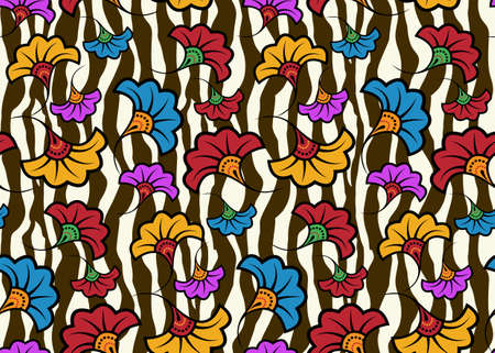 Seamless African Wax Print fabric, Ethnic handmade design, tribal animal pattern motifs floral elements. Vector texture, afro colorful textile Ankara fashion style. Pareo wrap dress wedding flowers