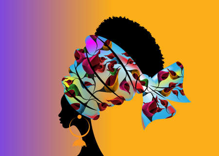 portrait beautiful African woman in traditional turban handmade tribal motif wedding flowers, Kente head wrap African with ethnic earrings, black women Afro curly hair, vector silhouette isolated Иллюстрация