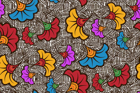 Seamless African Wax Print fabric, Ethnic handmade ornament design, tribal pattern motifs floral elements. Vector texture, afro colorful textile Ankara fashion style. Pareo wrap dress wedding flowers