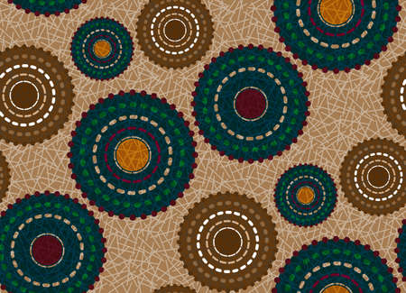 Seamless African Wax Print fabric, Ethnic handmade ornament for your design, Ethnic and tribal motifs geometric elements vector texture, afro textile Ankara fashion style. Pareo wrap dress batik style Ilustração