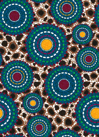 Seamless African Wax Print fabric, Ethnic handmade ornament for your design, Animal and tribal motifs geometric elements vector texture, afro textile Ankara fashion style. Pareo wrap dress batik style Ilustração