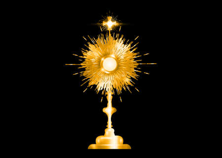Monstrance Gold Ostensorium used in Roman Catholic, Old Catholic and Anglican ceremony traditions. Benediction of the Blessed Sacrament is used to displayed to Eucharistic host. Vector isolated on black Ilustração