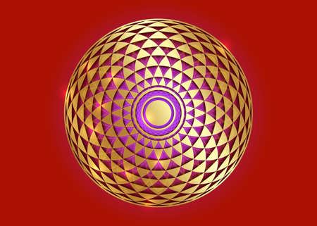 Torus Yantra, Gold Hypnotic Eye sacred geometry basic element. Golden Circular mathematical ornament. Circular pattern from the crossed circles, vector isolated on red background