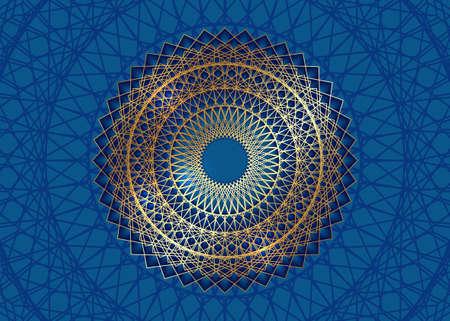 Gold Mandala Vintage decorative elements, golden line art. Luxury Oriental pattern, vector illustration. Islam, Arabic, Indian, turkish, pakistan, chinese, ottoman motifs. Isolated blue background