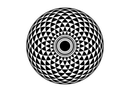 Torus Yantra, Hypnotic Eye sacred geometry basic element. Circular mathematical ornament. A circular pattern from the crossed circles, vector isolated on white background