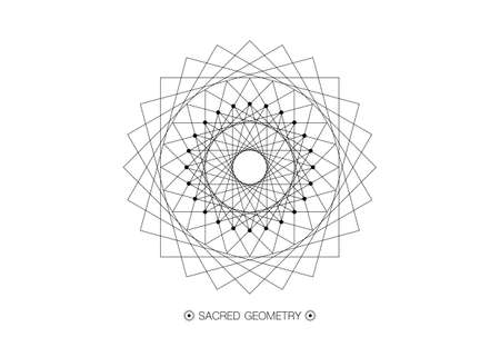 Circle mandala, Sacred Geometry, round frame sign geometric design with intertwining of square and triangular shapes, black line drawing mystic icon vector isolated on white background