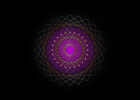 Gold Circle mandala, purple Sacred Geometry, round frame sign geometric design, intertwining of square and triangular shapes, golden line drawing mystic icon vector isolated on black background