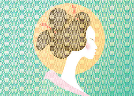 Vintage portrait of the young Japanese woman an ancient hairstyle. Geisha, maiko, princess. Traditional Asian Girl style. Print, poster, t-shirt, card. Vector old Japanese pattern green background