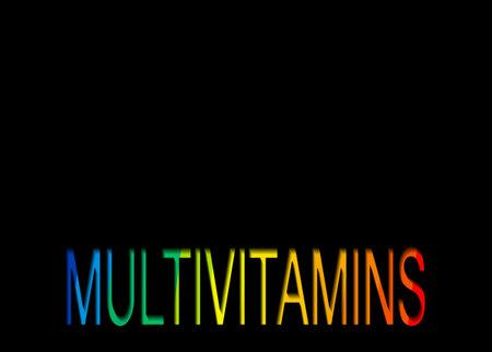 Multivitamin label inspiration, icon vitamins colorful text, banner vector isolated or black background Ilustração