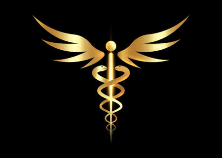 Medical caduceus symbol in golden color. gold luxury concept of public health, two snake torches silhouette. Ancient rod sign, vector isolated on black background