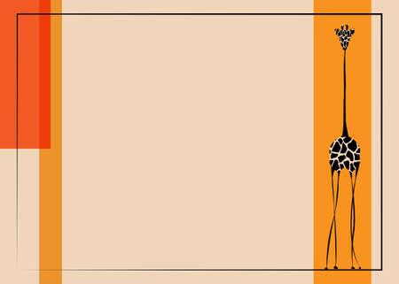 Vector image the giraffe body on the beige background, Giraffe Template, Africa Safari colorful geometric banner Vector illustration copy space for your design Ilustração