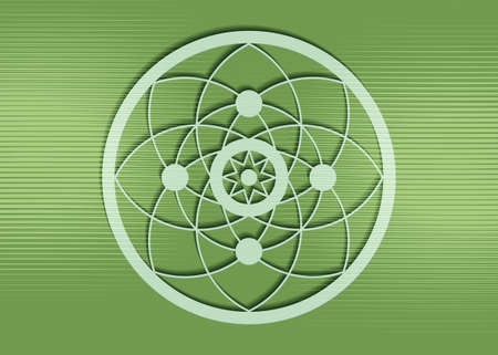 crop circles on green grass, sacred geometry, esoteric Flower of Life, vector mystical sign isolated on green background Ilustração
