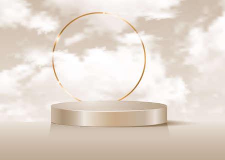 3d platform studio display minimal scene, gold round frame and fluffy clouds sky. Pedestal floor studio. Luxury Stage showcase platform modern. Fashion platform to show product beige background