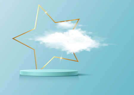 3d platform studio display minimal scene, gold star frame and fluffy cloud. Studio blue pedestal floor. Luxury Stage showcase platform modern. Fashion platform to show product light blue background