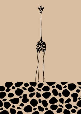Vector image the giraffe body on the beige background, Giraffe Logo, Giraffe pattern texture, Africa Safari Vector illustration isolated for your design Ilustração