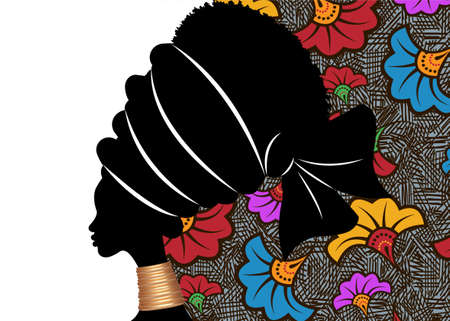 Banner portrait African woman in traditional turban. Tribal motif wedding flowers background, Kente head wrap. African ethnic necklace, black women Afro curly hair, vector silhouette isolated