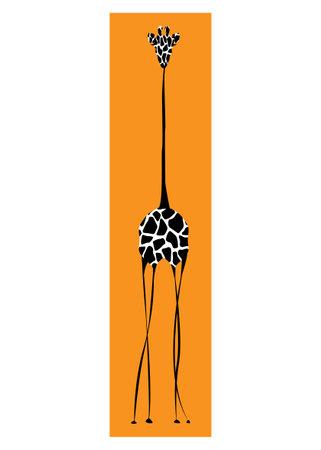 Vector image the giraffe body on the white background, Giraffe Logo, Giraffe Tattoo, Africa Safari Vector illustration isolated on orange batik for your design Ilustração