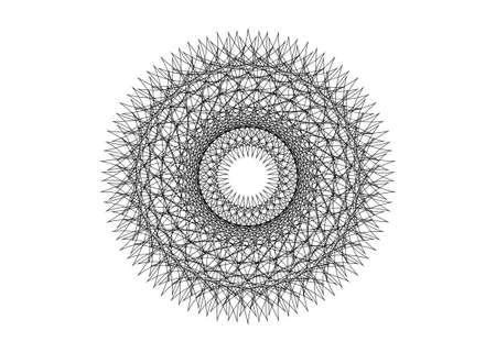 Round Mandala Beautiful geometric Ornament lacy style, black line art embroidery, vector isolated on white background. Patterned Design Element style Ilustração